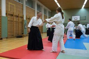 Aikidotraining in Kremsmünster / Kremstal mit Prof. Junichi Yoshida, April 2017 - Shihonage Eingang